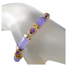 **ON SALE** Estate 14K Gold & Lavender Jade Amethyst Tennis Bracelet