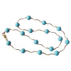 Vintage 14K Gold & Turquoise- Color Enamel Necklace