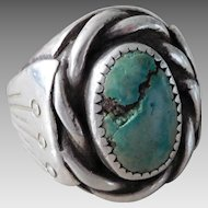 Vintage Southwest Taxco Sterling Silver & Turquoise Bird Nest Ring.