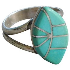 Vintage Southwest Native American Zuni Sterling Silver & Turquoise Inlay Ring