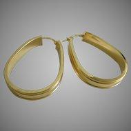 Vintage Classic Italian 14K Gold Hoop Earrings