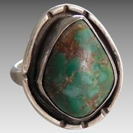 Vintage Southwest Native American Sterling Silver & Royston Turquoise Ring