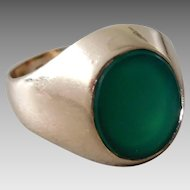 Antique Edwardian 14K Solid Gold & Green Onyx Gents Ring