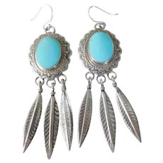 Vintage Southwest Sterling Silver & Sleeping Beauty Turquoise Feather Pendant Earrings