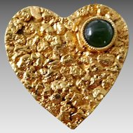 Vintage 10K Solid Gold & Jade Heart Nugget Pin