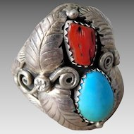 Vintage Navajo Native American Benson Yazzie Sterling Silver Turquoise & Coral Ring
