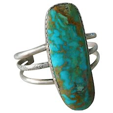 Old Southwest Sterling Silver Native American & Royston Turquoise Cuff Bracelet