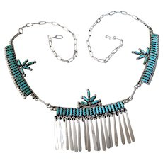 Vintage Native American Verna Pinte Signed Zuni Sterling Silver Petit Point Sleeping Beauty Turquoise Necklace