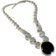 Vintage Sterling Silver Navajo Native American Onyx Pillow Bead Pendant Necklace.