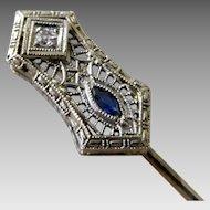 Vintage Art Deco 14K White Gold Filigree Diamond & Sapphire Stick Pin Hat Pin