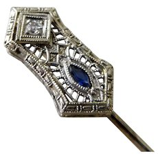 Vintage & Antique Jewelry Antique Belais Ny Art Deco 18k White Gold & Ruby Lapel Stick Pin Art Deco