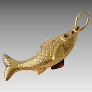 Vintage 14K Gold Detailed 3D Koi Fish Necklace Charm Pendant