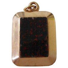 Antique Victorian 14K Gold Blood Stone & Black Glass Pocket Watch Fob Locket Charm