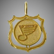Vintage Mark Anthony 14K Solid Gold St. Louis Blues Hockey Necklace Pendant Charm