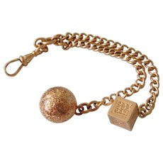 Antique Victorian 10K Solid Rose Gold Fancy Double Ended Pocket Watch Fob Chain