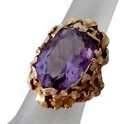 Antique Art Nouveau 10K Gold & Amethyst Floral Ring, Size 5 1/2