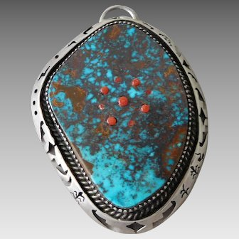 Vintage Southwest Native American Navajo Arist Chris Billie Sterling Silver Turquoise Necklace Pendant