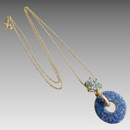 Vintage 14k Solid Gold & Blue Druzy Circle Pendant Necklace.