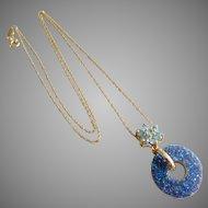 Vintage 14k Solid Gold & Blue Druzy Circle Pendant Necklace.