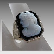 Vintage 14K Solid White Gold & Black & White Art Glass Cameo Ring