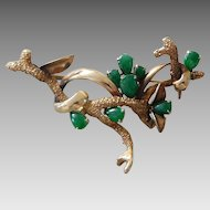 Vintage 14K Solid Gold & Jade Coral Branch Pin