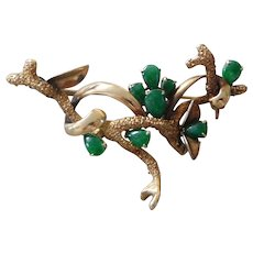 Vintage 14K Solid Gold & Jade Coral Branch Pin