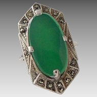 Vintage Art Deco Sterling Silver Marcasite & Green Chalcedony Ring Size 7 1/4