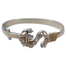 Vintage Sterling Silver & 14K Gold Sea Shell & Sand Dollar Bracelet