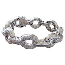 Vintage 14K White Gold & Diamond Large Link Bracelet