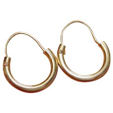 Vintage 14K Gold Hoop Earrings.