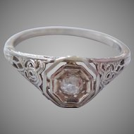 Antique Art Deco 18K Solid White Gold & Diamond Solitaire Ring, Size 6