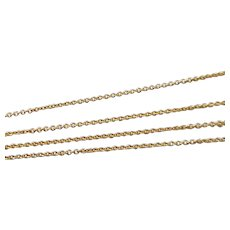 Vintage Italian 10K Solid Yellow Gold Necklace Chain, 20 Inches