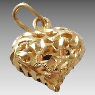 Vintage 14K Gold Heart Necklace Pendant