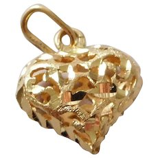 Vintage 14K Gold Heart Necklace Pendant