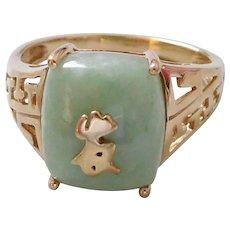 Vintage Asian 10K Solid Gold & Jade Ring, Size 7 1/4