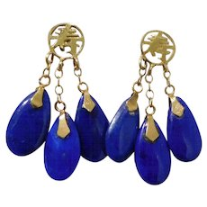 Vintage Asian 14K Solid Gold & Lapis Dangle Earrings