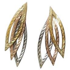 Vintage 14K White, Rose, & Yellow Gold Pendant Earrings