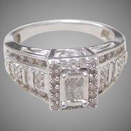 Vintage 10K Solid White Gold & Pave Set Diamond Ring.