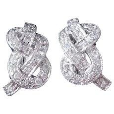 Adi Paz Sterling Silver & CZ Love Knot Earrings w. French Backs