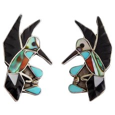 Vintage Southwest Native American Zuni Sterling Silver & Inlay Hummingbird Earrings.