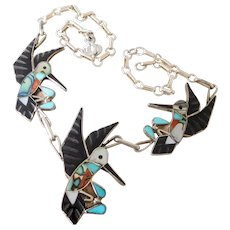 Vintage Southwest Native American Zuni Sterling Silver & Inlay Hummingbird Necklace