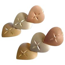 Vintage 14K Tri Color Yellow, White, & Rose Gold Heart Pendant Earrings