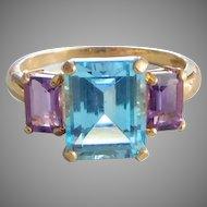 Vintage 14K Solid Gold Blue Citrine & Amethyst Ring