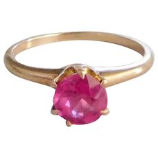 Antique Victorian 10K Solid Rose Gold & Pink Stone Ring