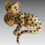 Vintage Panetta Gold Plated Rhinestone Panther Cat Brooch