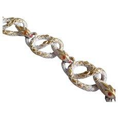 Vintage Mode Art Enamel & Crystal Rhinestone Snake Bracelet