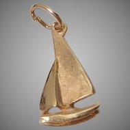 Vintage 14K Gold Sailboat Nautical Necklace Pendant or Charm