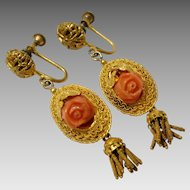 Antique Gilt Victorian Earrings with Carved Coral Roses