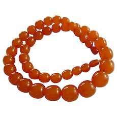 Antique Baltic Amber Graduated Bead Necklace