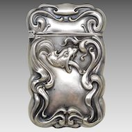 Antique Sterling Silver Ouroboros Dragon Match Safe